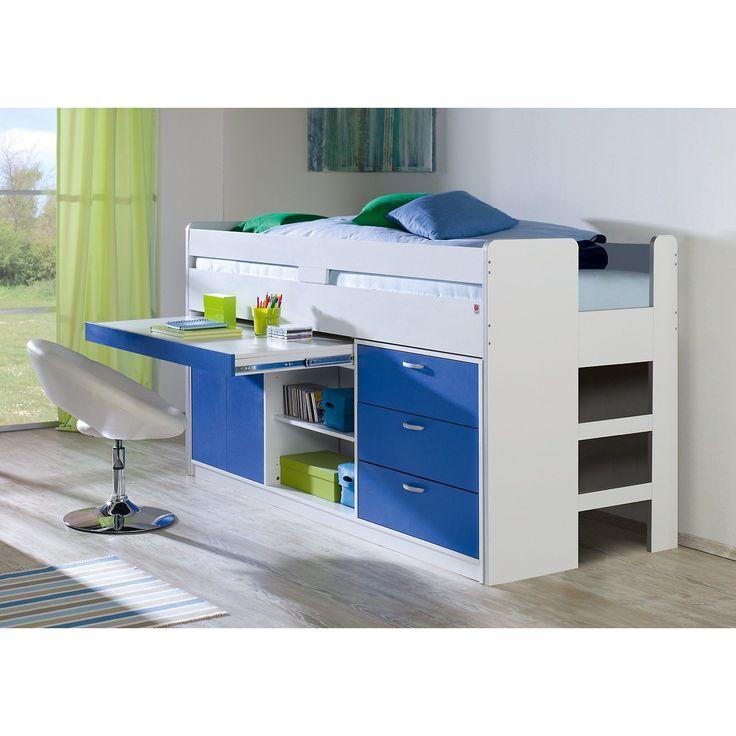 Relita Hochbett Bonny, weiß/ blau, 90 x 200 cm
