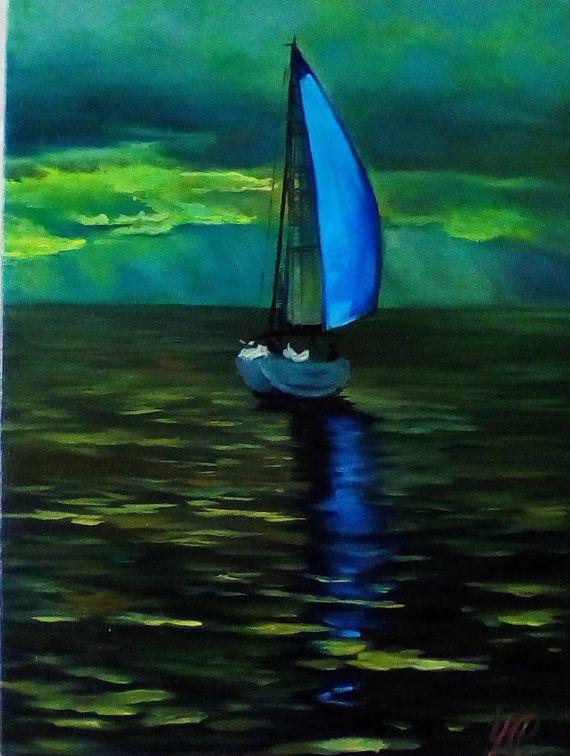 Sailboats small oil painting Canvas Art Wall Decor by svetlayalana #ocean #sea #sailboat #green #blue #landscape #marine