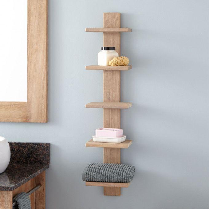 Bastian Hanging Bathroom Teak Shelf Five Shelves Bathroom Shelves Bathroom Accessories Bathroom In 2020 Teak Bathroom Bathroom Wall Shelves Diy Wooden Shelves