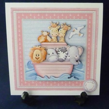 ANIMAL ARK Birthday Ages Baby Christening Girl Mini Kit on Craftsuprint designed by Janet Briggs - made by Michelle  Chivers