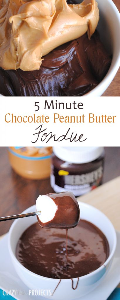 Easy 5 Minute Chocolate and Peanut Butter Fondue #SpreadPossibilities  #hersheysheroes