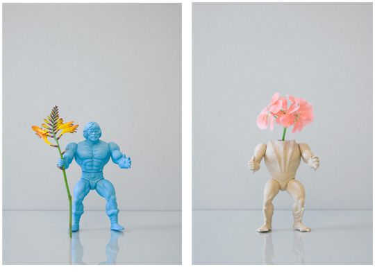 Action Figure Flower stands --   I don't know that I would actually put these in my home, but I love the idea!