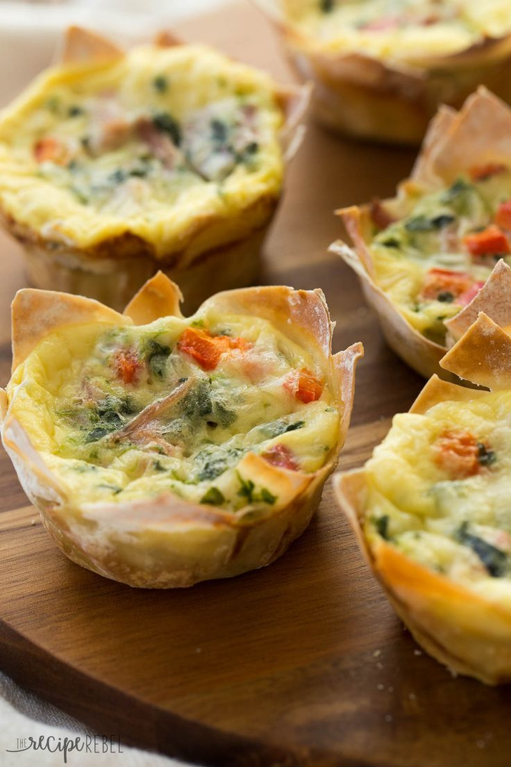 Entertaining just became a whole lot easier by using wonton wrappers as the crust for a batch of mini quiches. Genius!