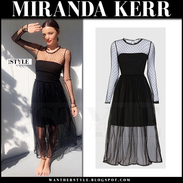 Miranda Kerr in sheer black tulle polka dot dress