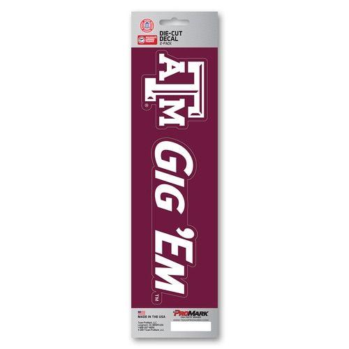 Texas A&M Aggies Decal Die Cut Slogan 2 Pack