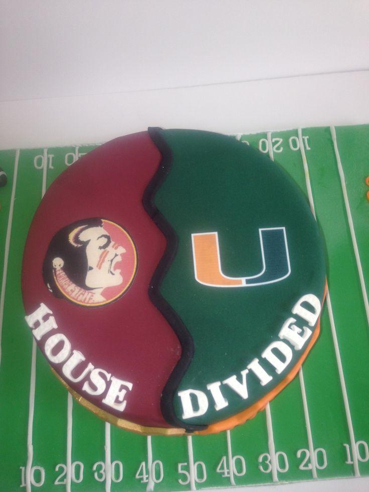 House divided cake, FSU Seminoles vs Miami Hurricanes. Football field.