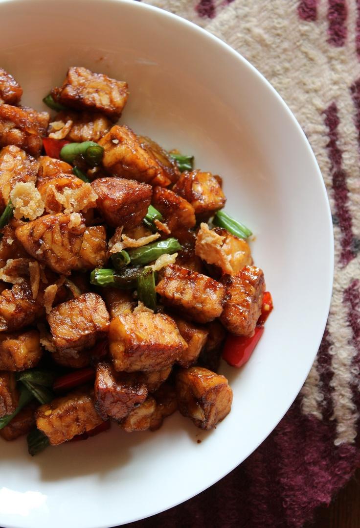 Tempe-string beans soy sauce stir fry