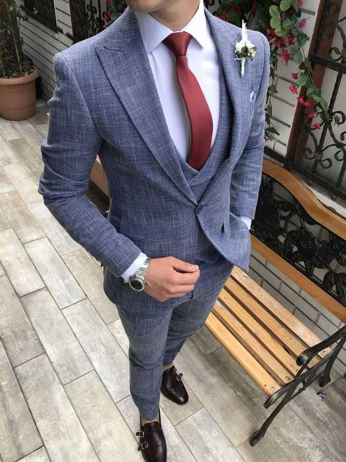 5fe02de76 Terziademaltun - İtalyan stil slim fit ceket yelek pantolon takım elbise  mavi T2719 (1)