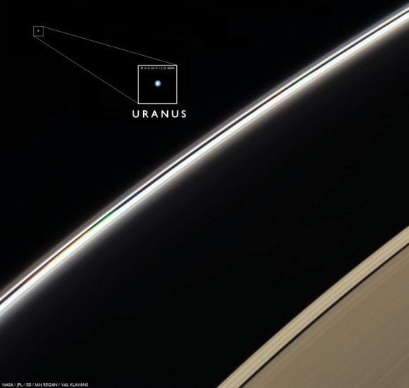 El otro punto azul pálido, Urano visto por la Cassini desde las inmediaciones de Saturno