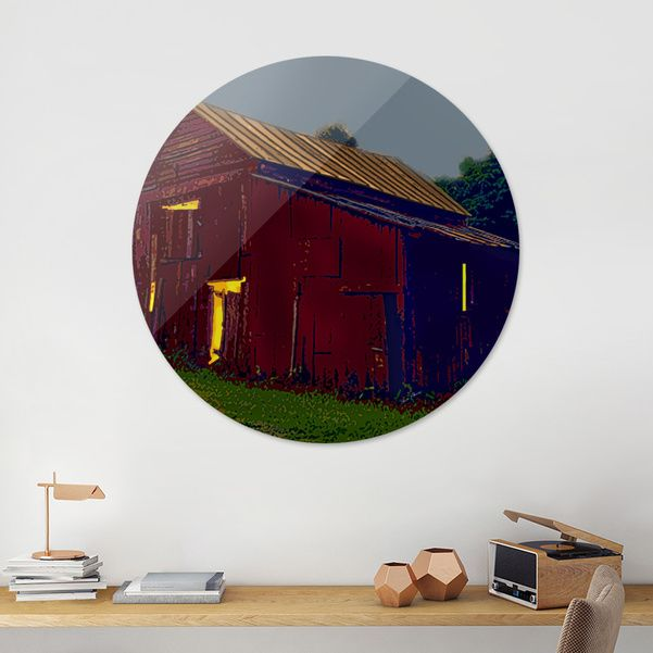 Discover «Activity in the Red Barn Under the Pale Moon», Exclusive Edition Disk Print by Elaine Plesser - From $85 - Curioos