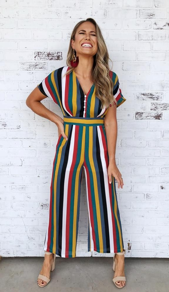 71a565827f9f Jewel tone striped short sleeve jumpsuit with button up front detail. Jewel  tone jumpsuit. Striped jumpsuit. Fall jumpsuit. Fall fashion.