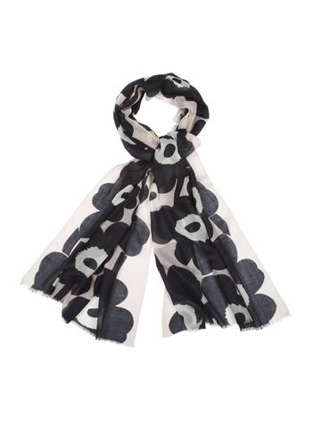 MARIMEKKO FIORE 2 SCARF BLACK, OFF WHITE, POWDER  #cotton #scarf #flower #unikko #marimekko #blackandwhite #pink #balletpink #blush #rose #pirkkoseattle #pirkkofinland