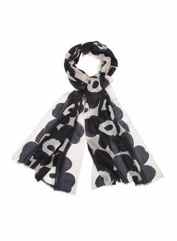MARIMEKKO FIORE 2 SCARF BLACK, OFF WHITE, POWDER  #cotton #scarf #flower #unikko #marimekko #blackandwhite #pink #balletpink #blush #rose #pirkkoseattle #pirkkofinland