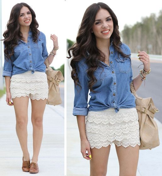 Unknown Crochet Shorts, Forever 21 Denim Top, Mimi Boutique Nude Bag, Nine West Oxford Shoes