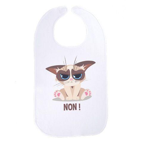 Bébé chat grumpy - Maxi bavoir Bébé - Coton Blanc #bavoir #chat #grumpy #bébé #baby #geek #cute #mignon