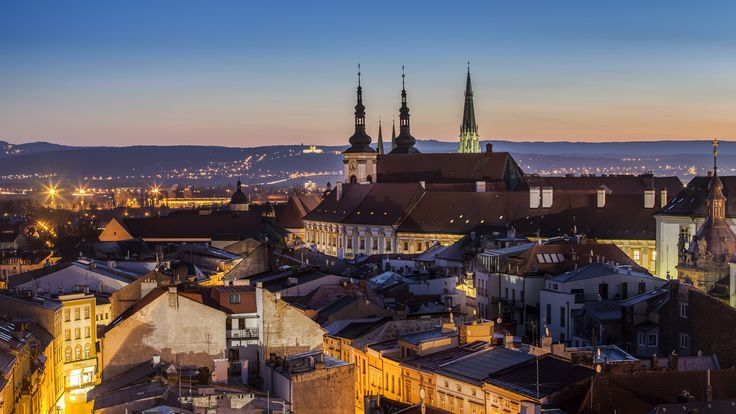 Olomouc at night with Saint Hill at horizon (North Moravia), Czechia