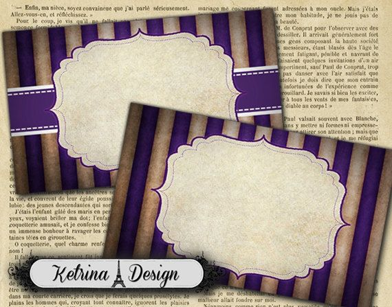 Purple Grunge Striped Blank Gift Labels Shabby by KetrinaDesign