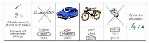 l'enfant doit colorier les dessins contenant le son demandé, puis entourer le mot correspondant à l'image.  Cette série concerne les sons t, è, ss, b, k, d, n, on, v et f.