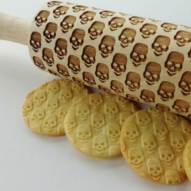 Skull Embossed Rolling Pin #Cookie, #Fun, #HandMade