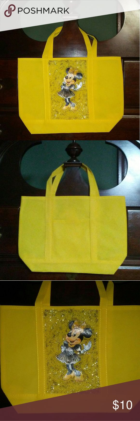"""Pittsburgh Steelers Minnie Mouse Tote Yellow tote with Minnie Mouse as a Pittsburgh Steelers cheerleader. Measures 14"""" x 3"""" x 10"""". Strap drop is approximately 7.5"""". Bags Totes"""