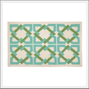Trina Turk Geo Rug In Ivory Green And Turquoise Rugs