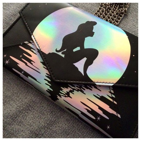 """Disney Little mermaid purse with 48 inch chain This is a new Disney Little Mermaid iridescent wallet/ purse. It includes a 48"""" chain. Great for any Disney fan :) disney Bags Wallets"""