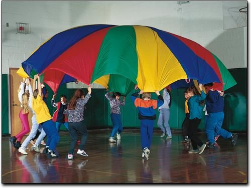 Who doesn't love a good parachute game?!   Check out this list of ideas to play.