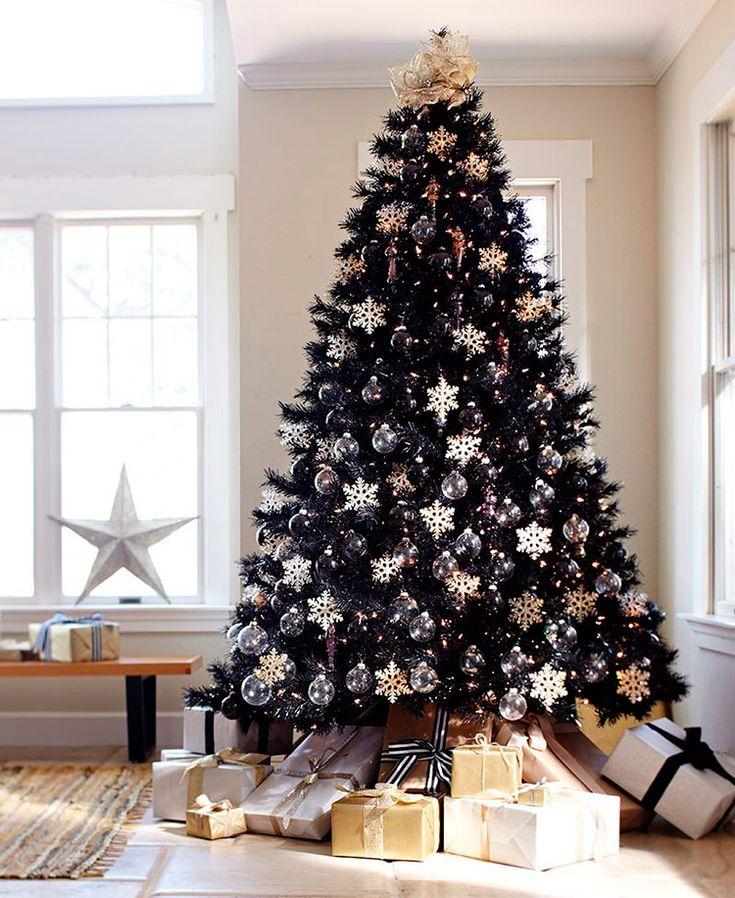 как украсить елку на новый год фото, черная елка фото, черная новогодняя елка, как необычно украсить новогоднюю елку, стильное украшение новогодней елки