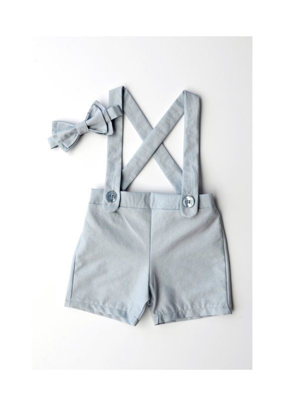 light blue baby suspender shorts- shorts overalls- boys suit- suspenders…