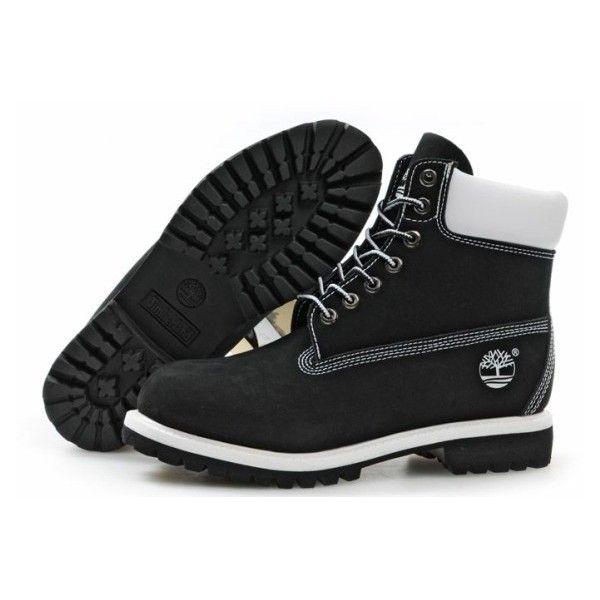 Botas Timberland Mujeres Timberland 6 Inch Boots black/white ($90) ❤ liked on Polyvore