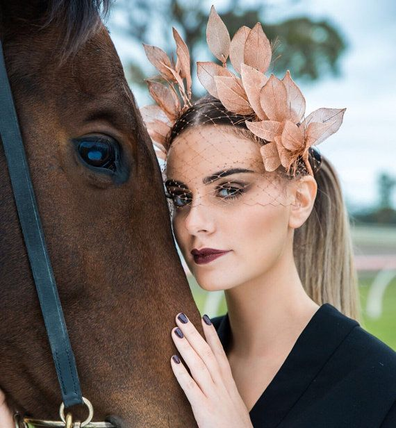 Jolie Rose' - Rose Gold Leaf Custom Designed Racing Fashion Headpiece