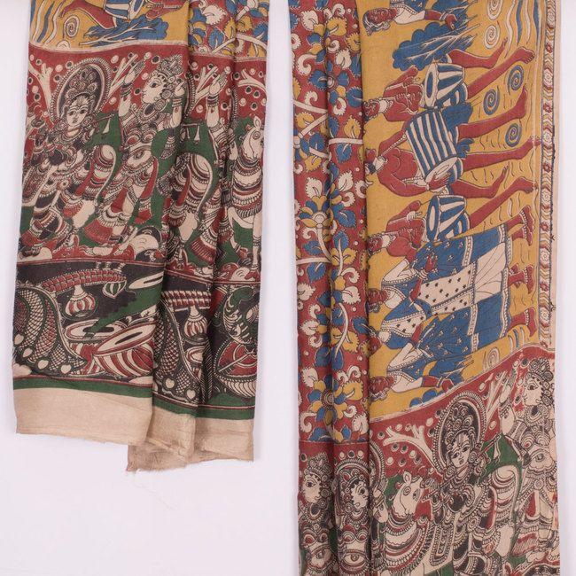Buy online Hand Block Printed Blue & Maroon Maheshwari Soft Silk Kalamkari Dupatta With Floral Motifs 10012117