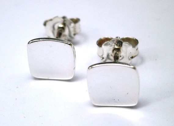 Square Stud Earrings Fine Silver Earrings by JewelryByKonstantis