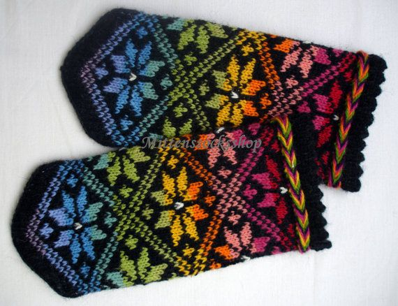 Completely original high quality hand-knittted wool mittens-colors of the rainbow tinted stars  ornament on a black background