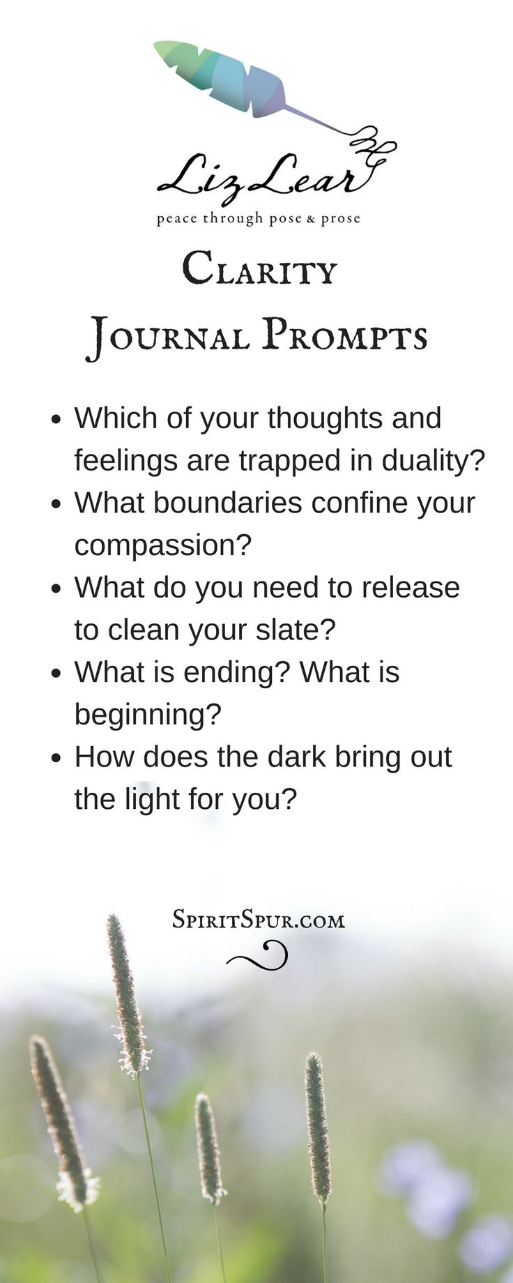 Journal prompts promote clarity | yoga journaling | yoga-inspired journal prompts from Liz Lear | free Cultivate Contentment Guide with 20 peace prompts