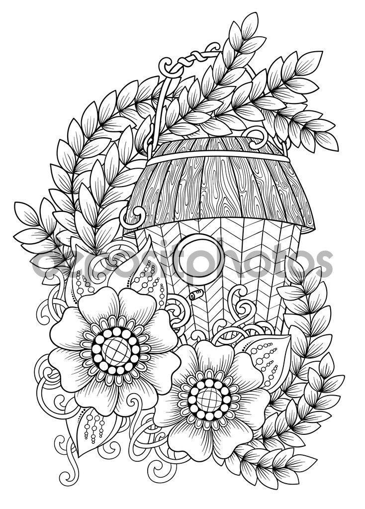 Descargar - Blanco y negro madera nidal. Mano dibuja contorno pájaro casa decorada con ornamento floral. Zentangle inspiró patrón para colorear libro para adultos y niños, tatuaje, cartel. Estilo boho — Ilustración de stock #125273640