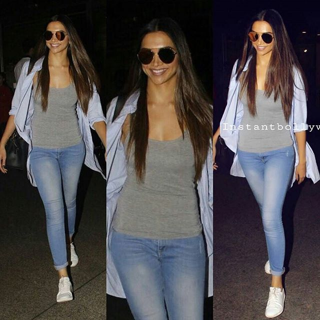 The queen is back ! Deepika returns from Dubai,spotted at Mumbai airport today . Her haiiiiir Still can't get over her look for yesterday and now thisss!! She looks soooo beautifull and that smile !