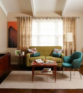 In love with this midcentury modern living room. That chair! Love it. via: