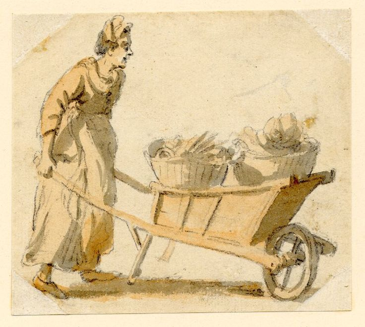 Paul Sandby, Mid 18th Century. A woman with a wheelbarrow of vegetables.  British Museum.
