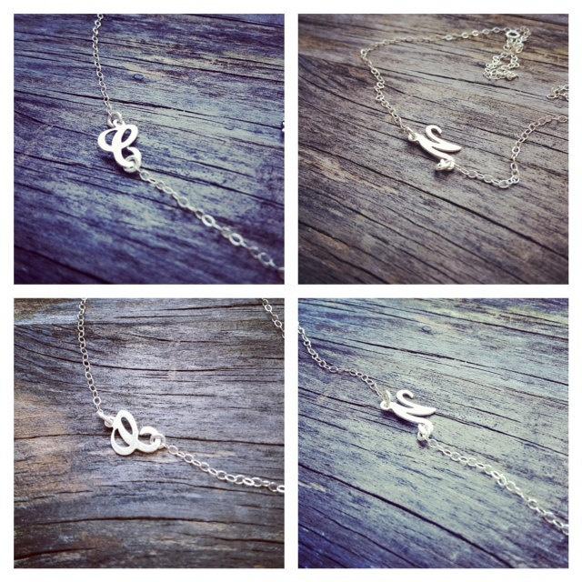 Dainty  Sideways Script Letter Necklace - Sterling Silver Letter necklace - Adjustable Necklace - Everyday Jewelry. $34.90, via Etsy.