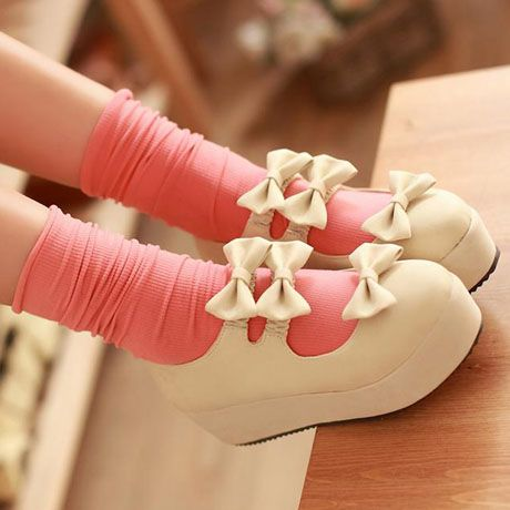 Dolly Dynamite | Triple Bow Doll Platforms (Apricot) | Online Store Powered by Storenvy aka the reason im dYING