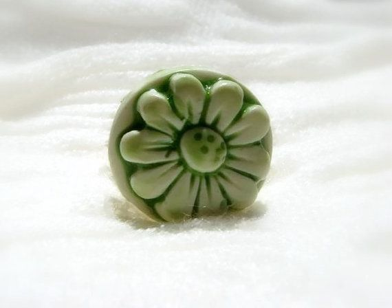 Blooming Green Ring  Flower Adjustable Ring Flower by efiwarsh
