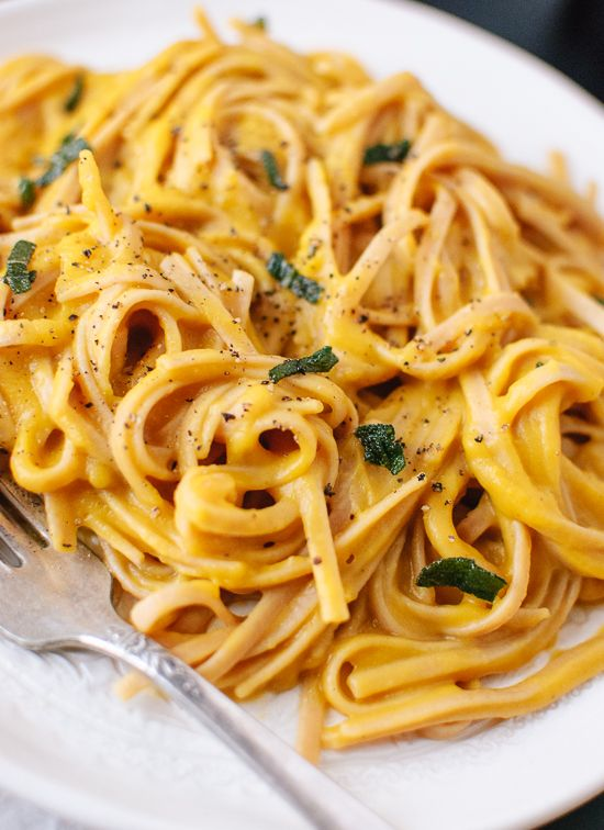 Spiced and creamy (yet cream-less) butternut squash sauce tossed with whole grain linguine. Top with fried sage for a healthy, comforting meal.