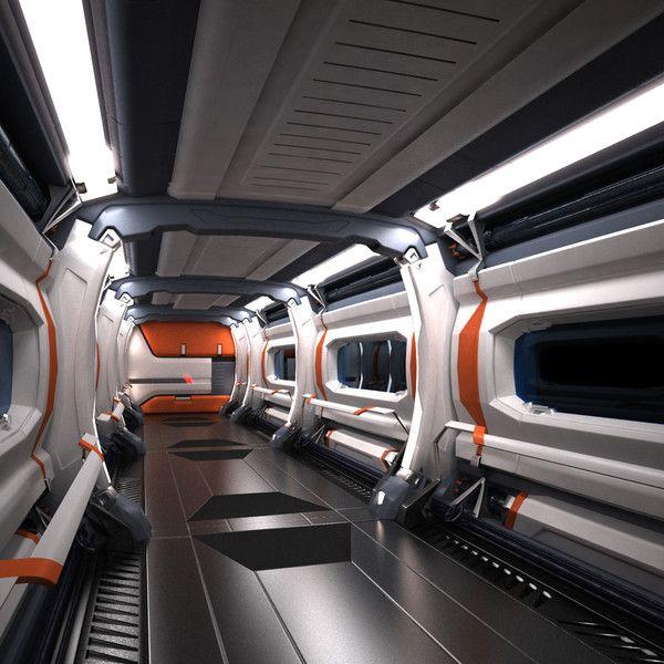 Sci-Fi Spaceship Corridor 05 3D Models