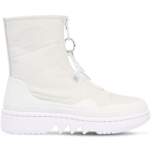 Nike Women Air Jordan 1 Jester Xx High Top Sneakers ($230) ❤ liked on Polyvore featuring shoes, sneakers, white, high top trainers, high top zipper sneakers, white hi tops, white trainers and white high top shoes