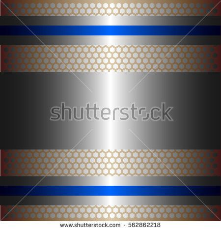 Shiny silver metal with silver background.Two glossy blue lines.Gold plate with hexagon holes style design .
