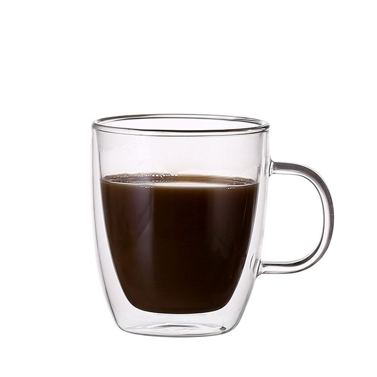 New style heat resistan pyrex glass double wall coffee cups