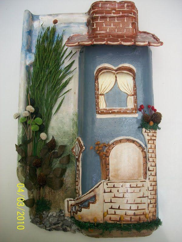 Mina de Artesanatos: Telhas decoradas                                                                                                                                                                                 Mais