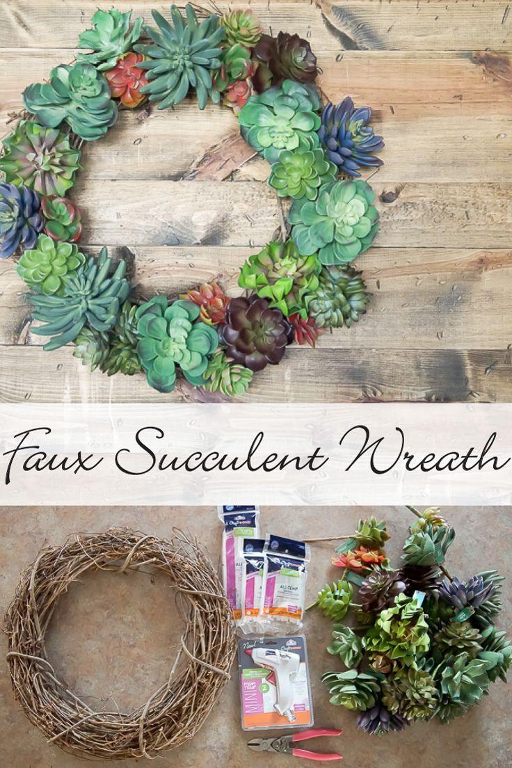 DIY Faux Succulent Wreath Project Tutorial: Create a beautiful, homemade wreath in minute using a grapevine wreath, artificial succulents, and Elmer's new CraftBond Less Mess Hot Glue Sticks & Hot Glue Gun.