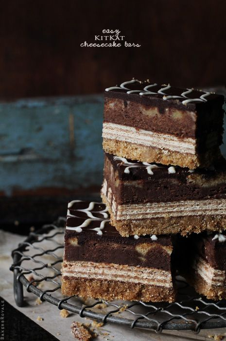 Don't these look divine??? Kit Kat Cheesecake Bars from Bakers Royale. No need to go to the Cheesecake Factory. Satisfy your cheesecake cravings with these goodies.